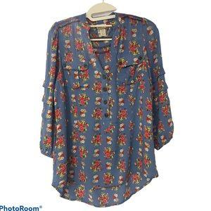 Matilda Jane Long sleeve Floral ruffle top